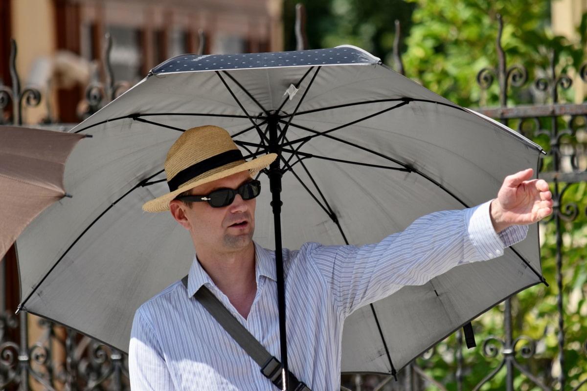 móda, hezký, ulice, deštník, muž, venku, portrét, obchodní, léto, Příroda