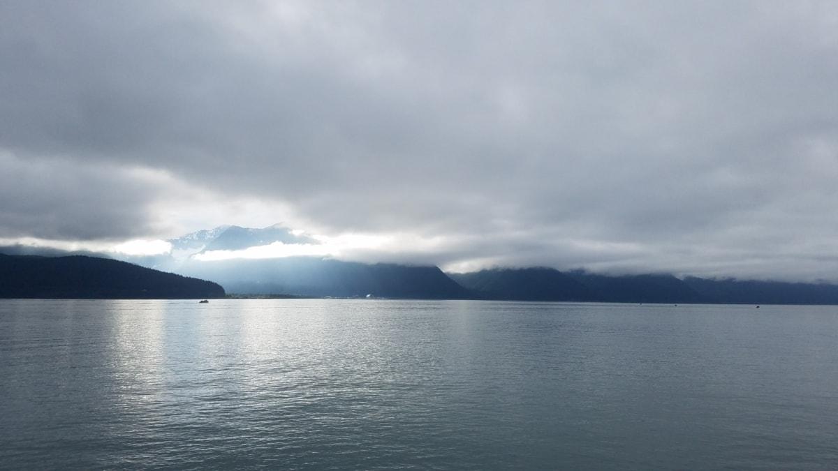 湾, 云, 地平线, 雾, 水, 湖, 岸, 景观, 湖, 性质