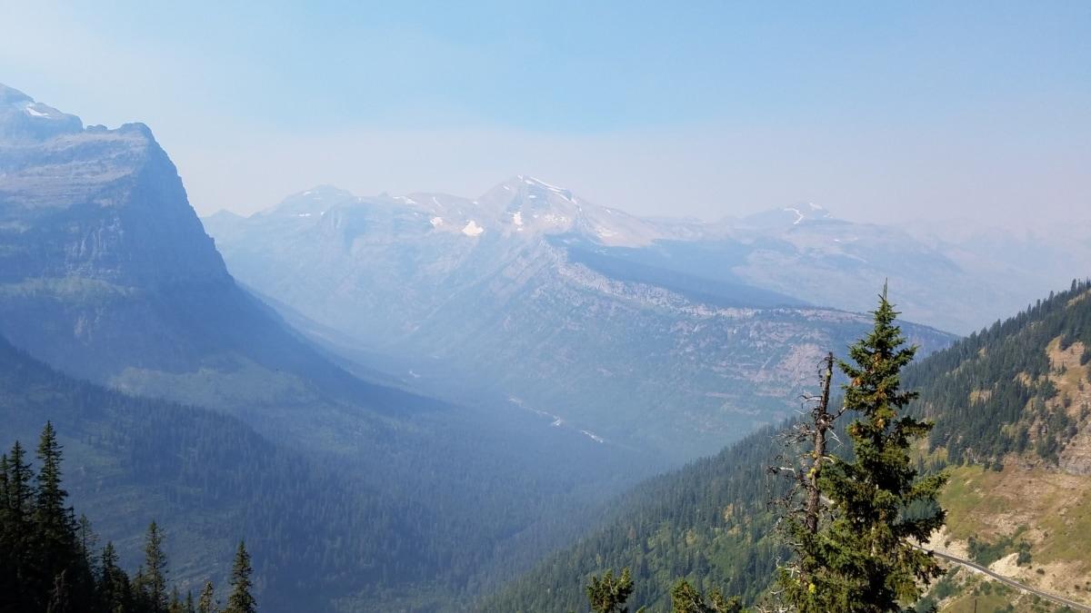 morgon, bergstopp, dalen, Berg, landskap, utbud, bergen, trä, naturen, dimma