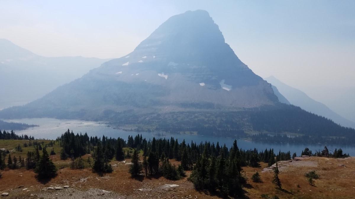mountain peak, river, riverbank, nature, mountain, landscape, fog, wood, mist, dawn