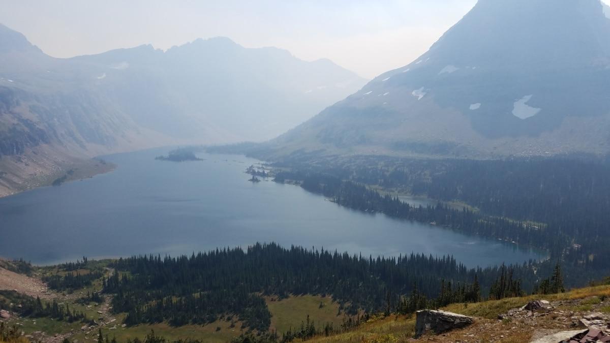 blue sky, foggy, lakeside, mountain peak, national park, landscape, nature, mountain, lake, wood