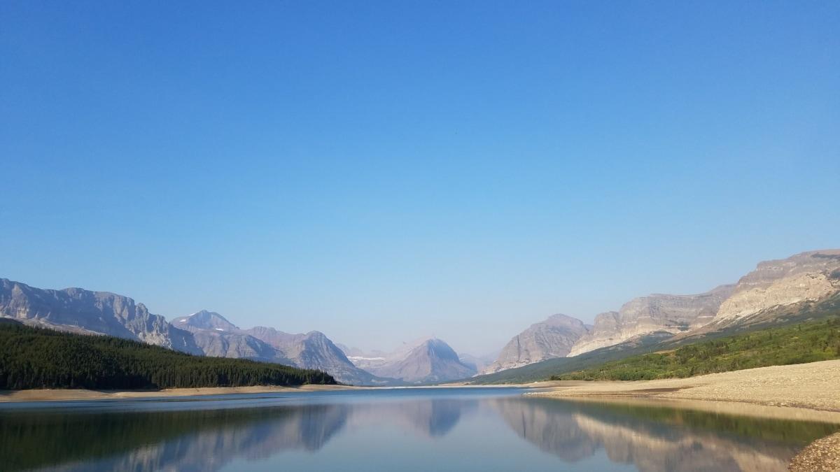 horisonten, søen, Panorama, refleksion, bjerg, vand, natur, landskab, sne, daggry