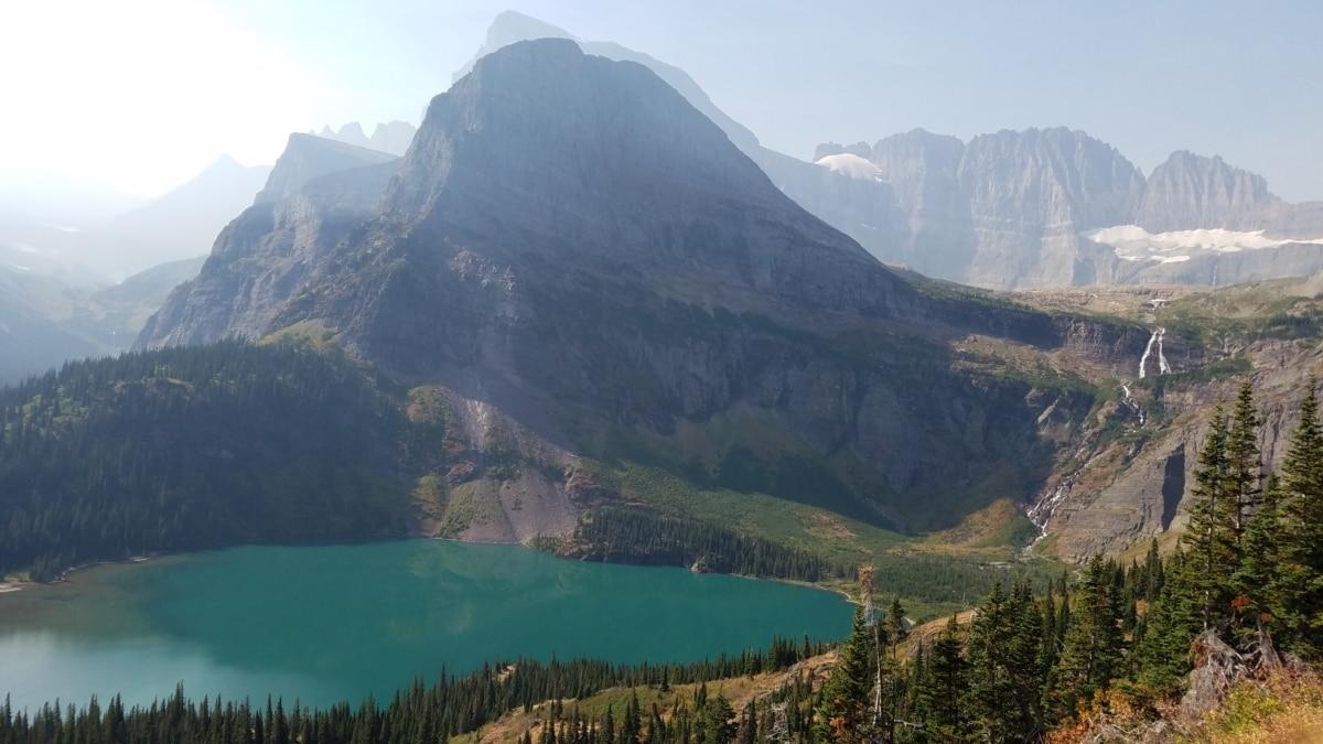 forest, hilltop, lakeside, mountain peak, mountainside, national park, water, mountain, range, landscape