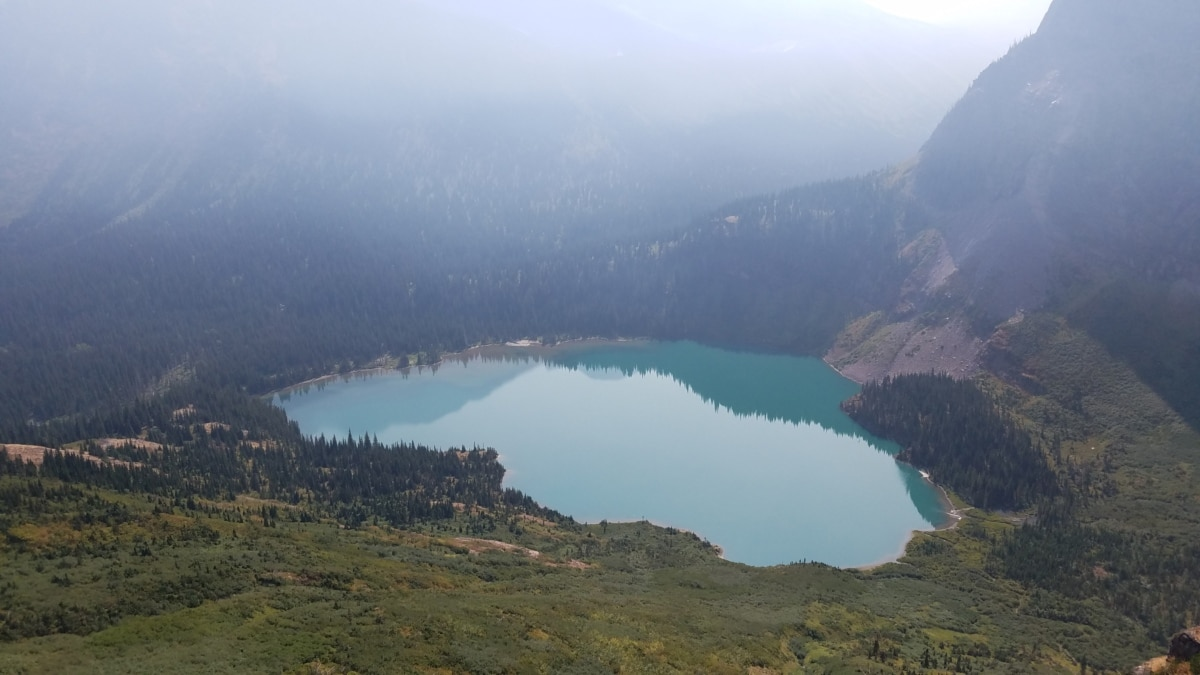 crater, foggy, high land, lake, water, mountains, landscape, mountain, fog, island