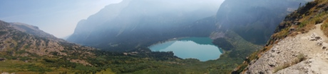 foggy, lakeside, mountain peak, mountainside, panorama, volcanic crater, mountains, range, mountain, water