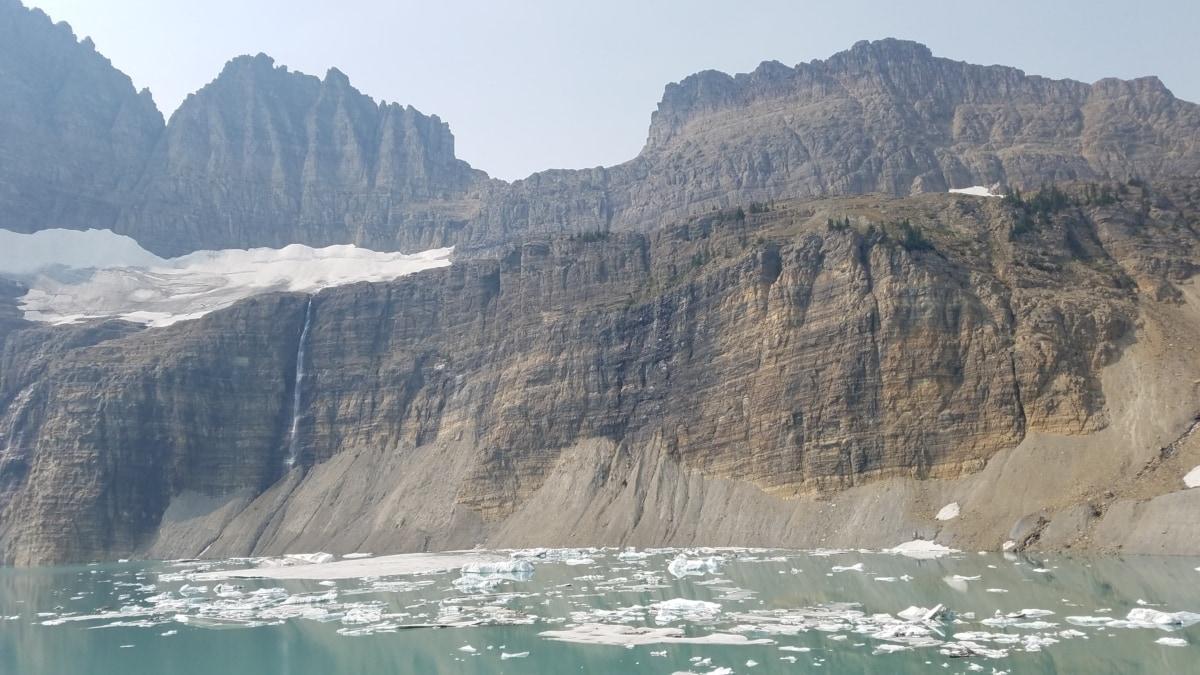 frost, glacier, northern hemisphere, landscape, cliff, ocean, water, mountain, nature, seashore