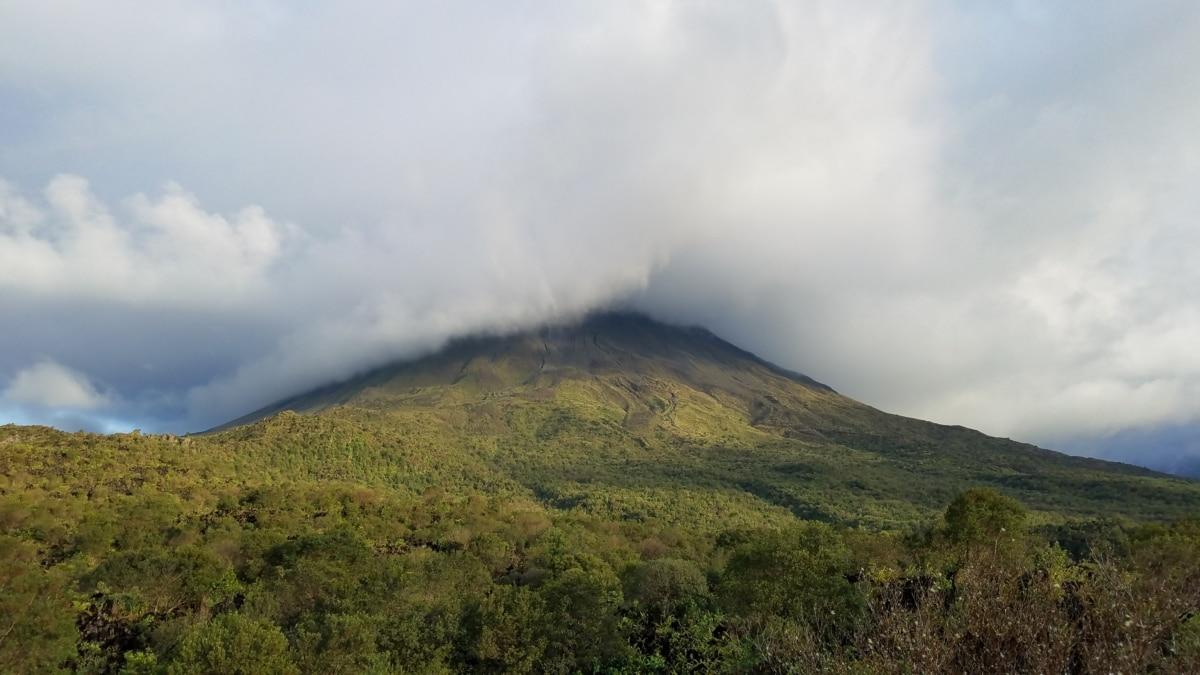 köd, dombtető, hegyi, vulkán, táj, természet, szabadban, hegy, fű, fa
