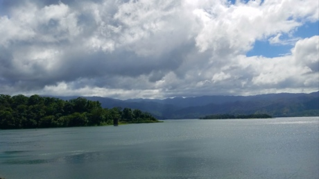 blue sky, cloudy, lake, resort area, water, landscape, nature, mountain, reflection, tree