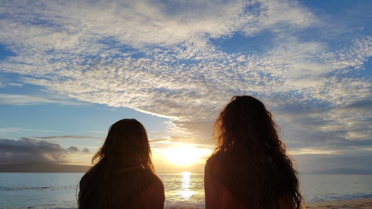 venner, vennskap, jenter, kvinner, Yoga, solnedgang, daggry, stranden, hav, landskapet