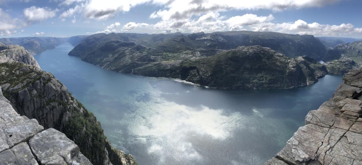 heuveltop, panoramisch, rivier, vallei, berg, water, gletsjer, Bergen, landschap, meer