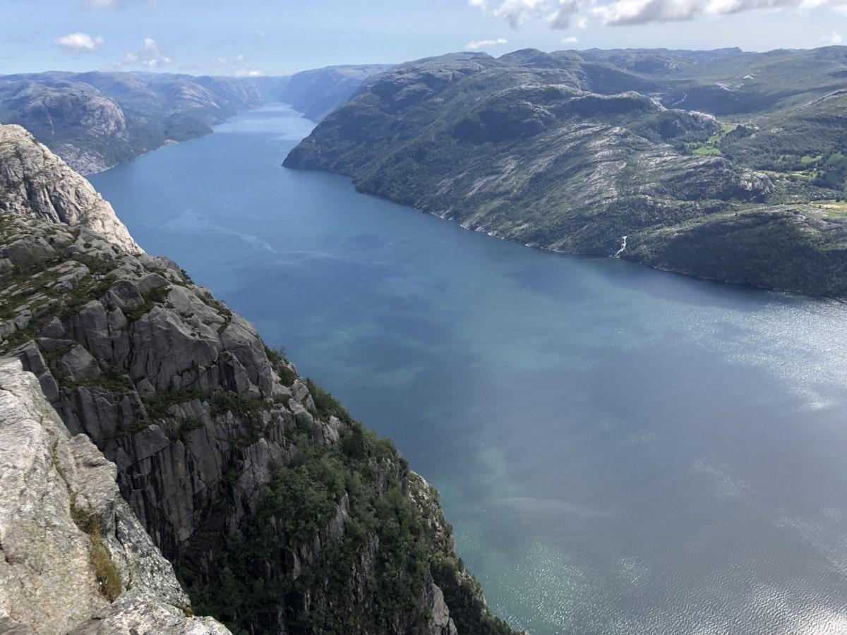 mountain peak, panoramic, river, water, landscape, mountains, mountain, nature, rock, island