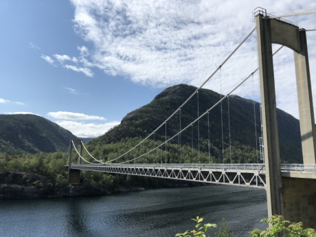 national park, suspension bridge, landscape, bridge, structure, mountain, water, river, connection, architecture