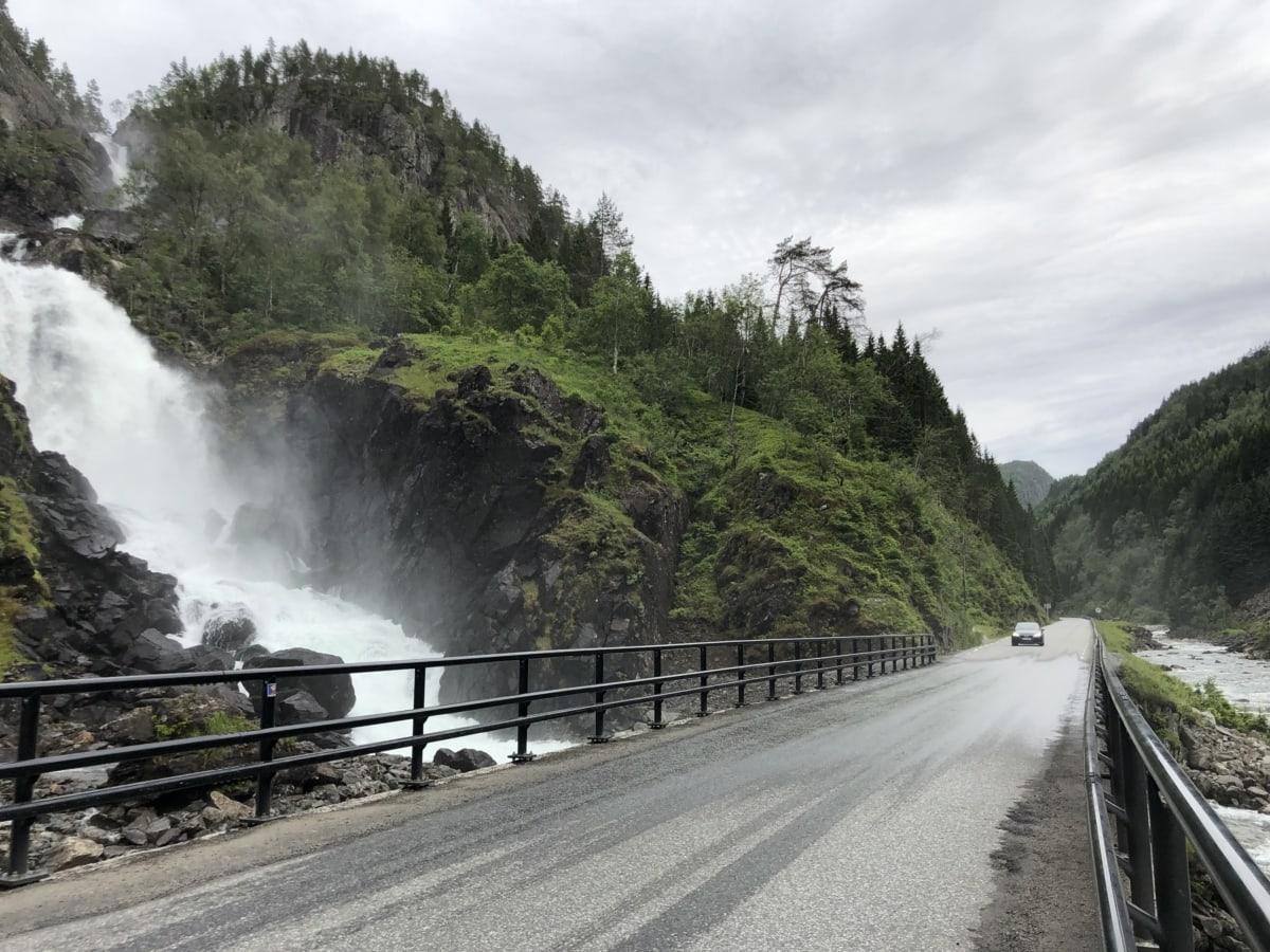 브릿지, 자동차, 고속도로, 도, 폭포, 자연, 풍경, 산, 물, 나무