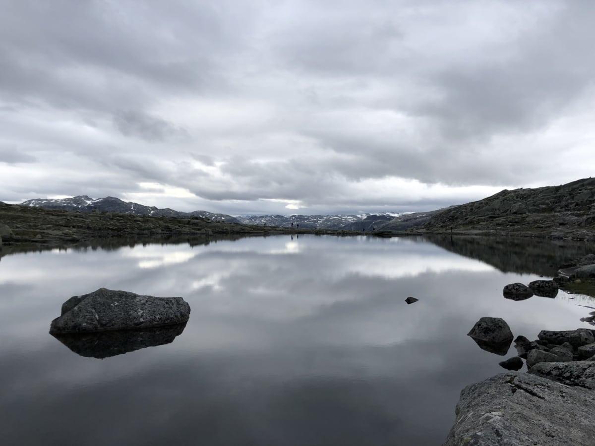 big rocks, island, lake, perspective, water, landscape, snow, nature, reflection, rock