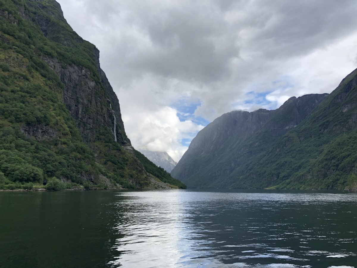 ködös, tóparti, völgy, táj, hegyi, hegyek, víz, medence, természet, szabadban