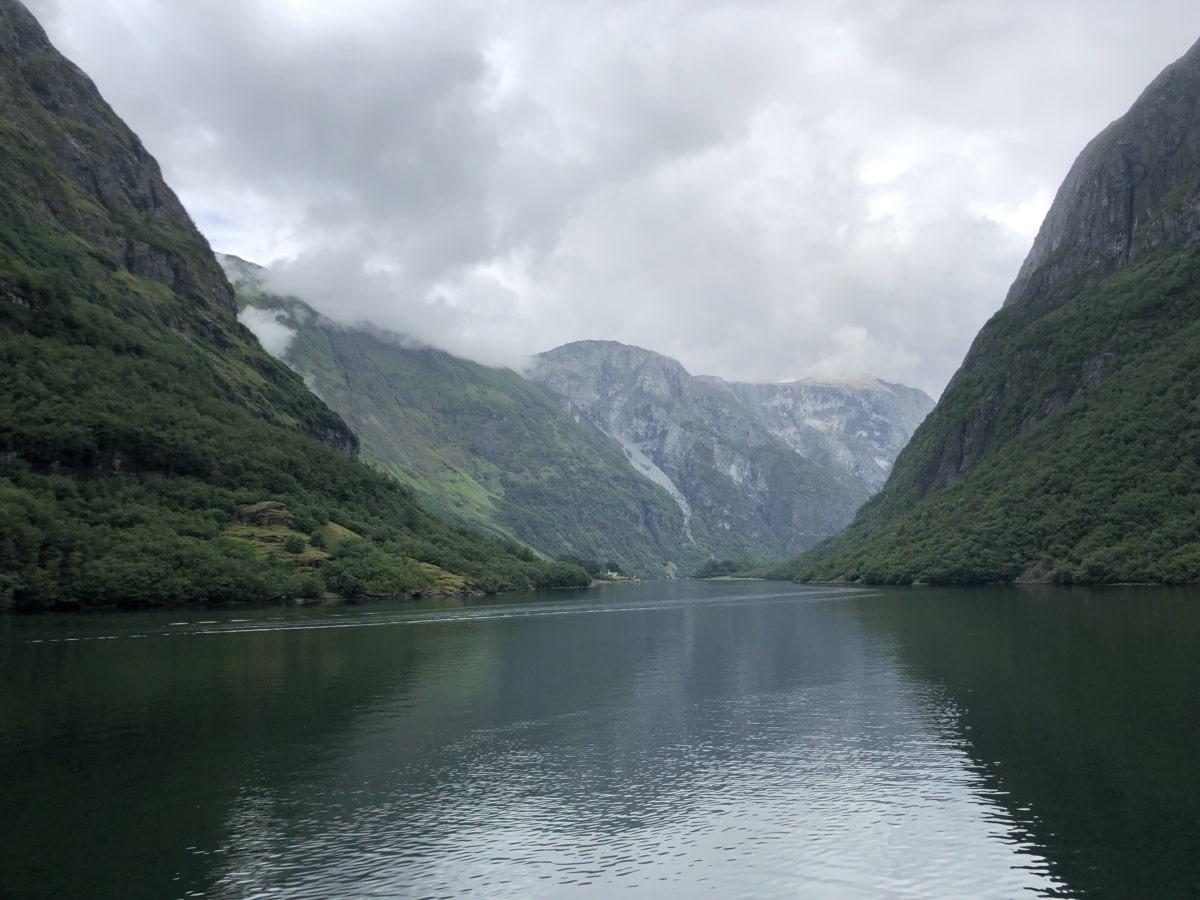 tåkete, horisont, innsjøen, morgen, fjell, fjell, natur, innsjø, vann, landskapet
