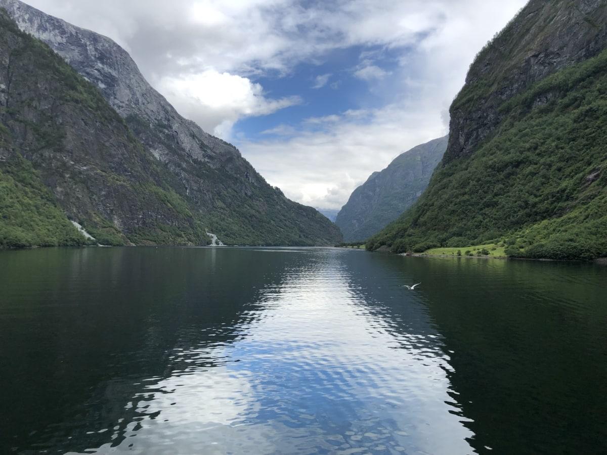 panorama, refleksjon, elvebredden, dalen, villmark, kysten, vann, fjell, fjell, elven