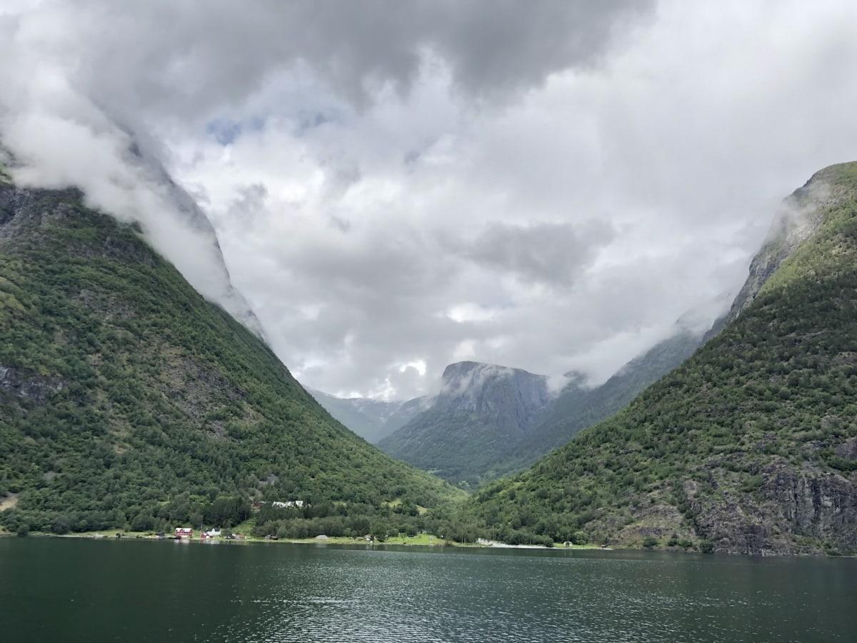 vand, søen, natur, bassinet, bjerge, rækkevidde, landskab, bjerg, tåge, træ