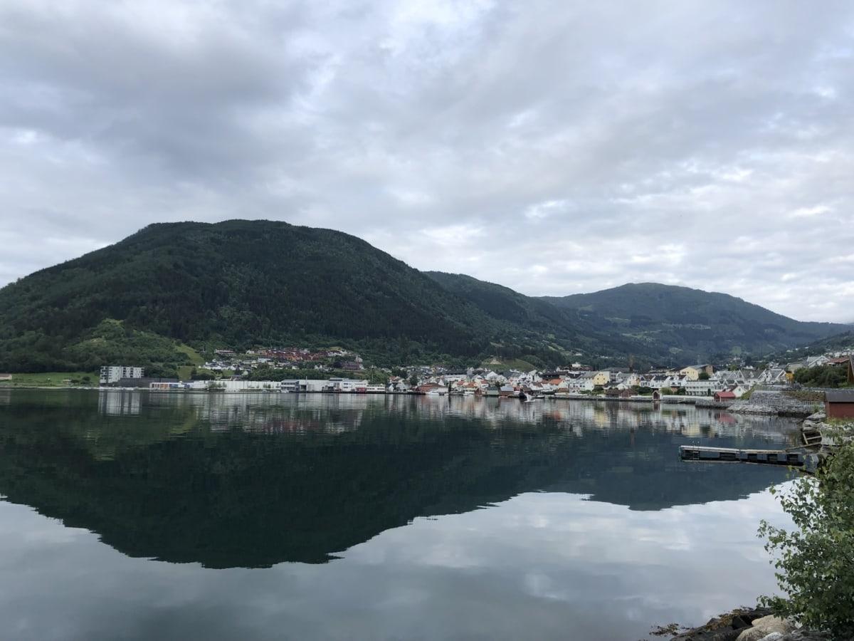 湾, 晴朗天气, 港, 湖, 度假村, 景观, 山, 水, 性质, 湖
