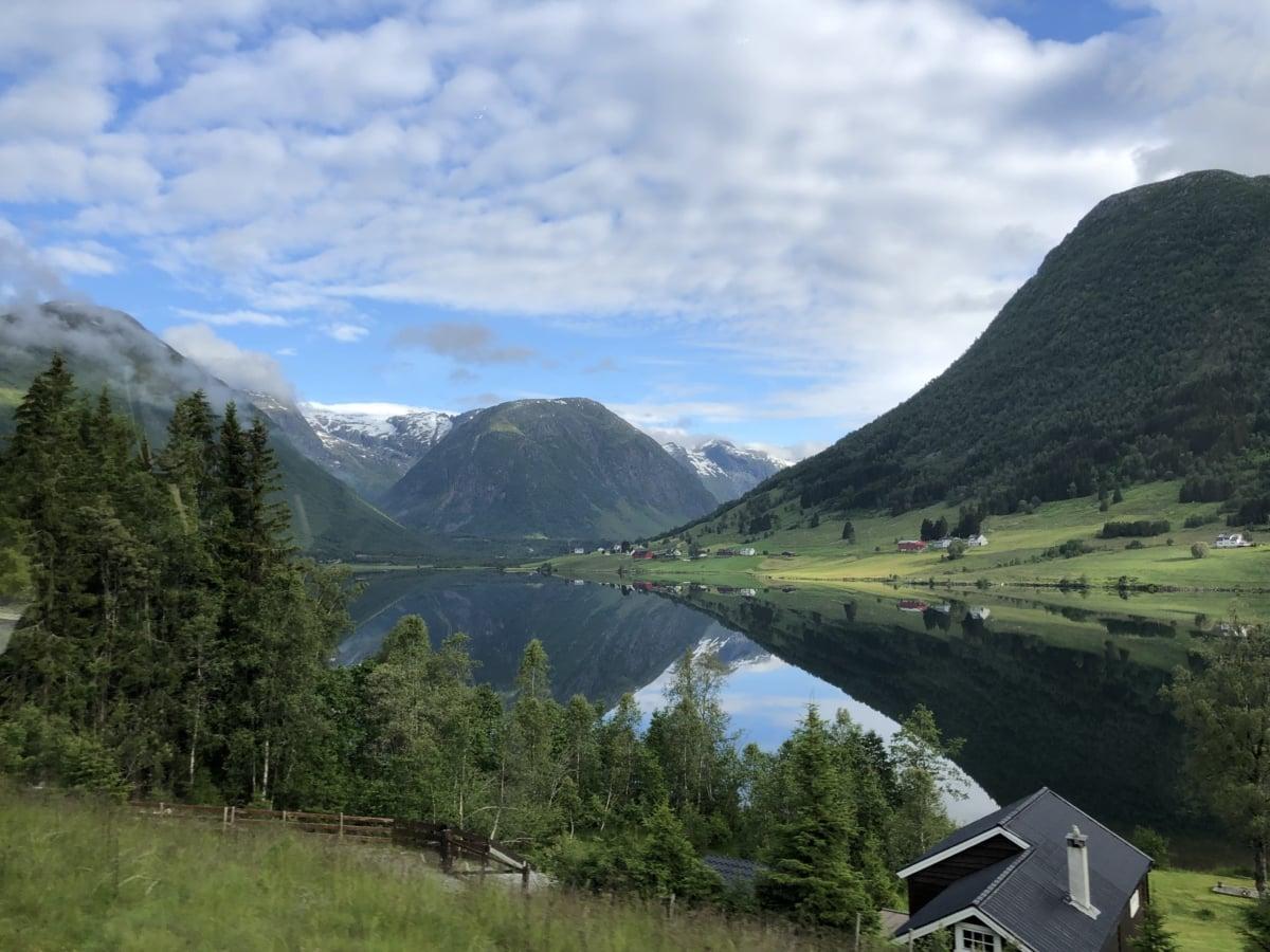 алпийски, Красив, Котидж, хълм, езеро, национален парк, панорама, курортната зона, планинска област, планински