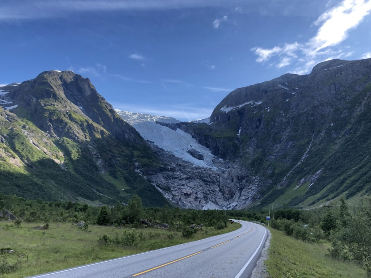 asphalt, glacier, highway, road, mountain, ascent, range, mountains, landscape, valley