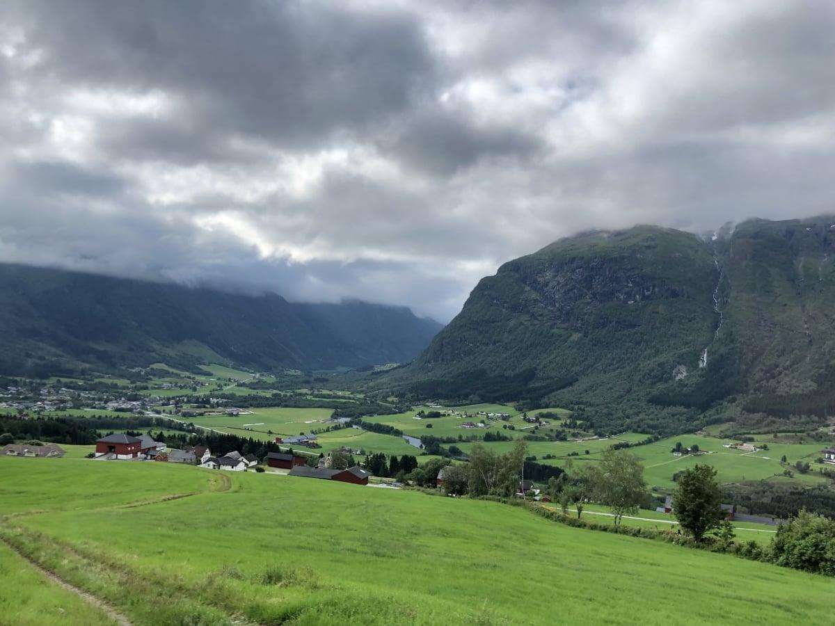 alpint, skyer, åsene, høyt land, landskapet, fjell, fjell, natur, gresset, landskapet