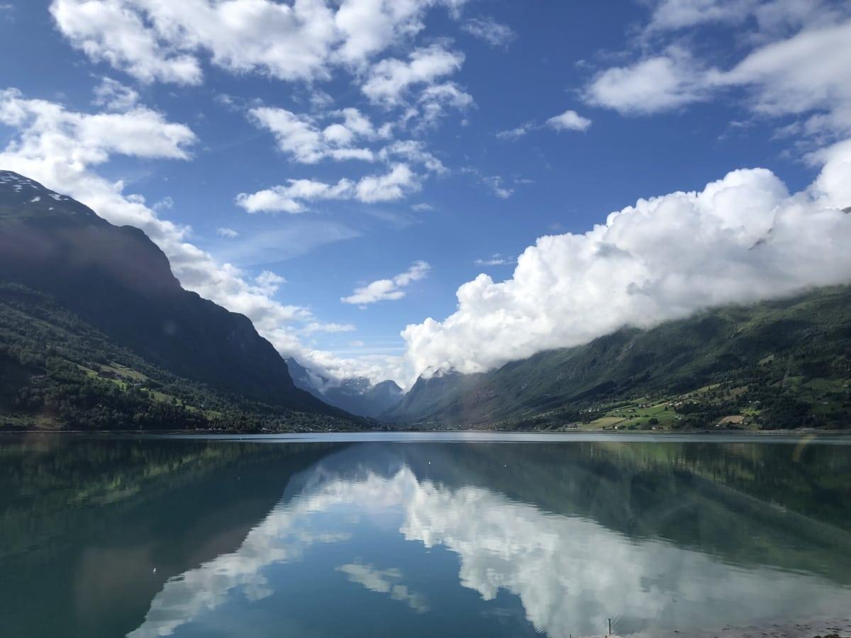 blue sky, cloudy, lakeside, mountainside, reflection, lake, mountain, water, mountains, landscape