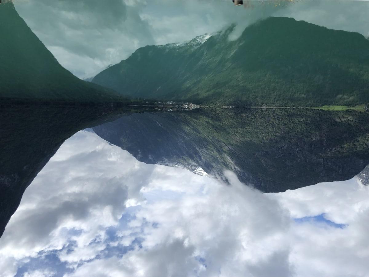 lake, water, landscape, mountains, mountain, glacier, range, nature, fog, outdoors