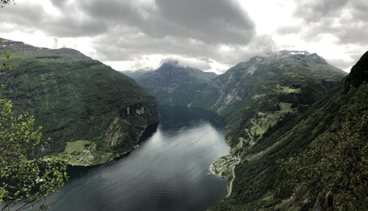 хълм, Lakeside, с изглед към, вода, планински, пейзаж, река, природата, долината, езеро