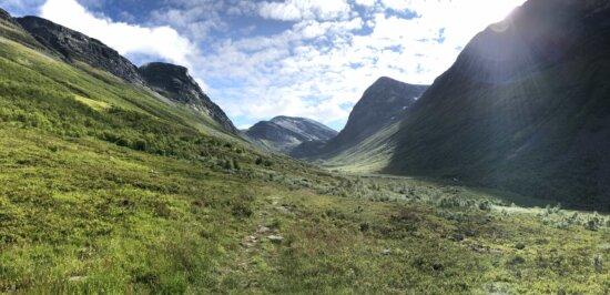 alpint, fjelltopp, fjellsiden, solstrålene, solskinn, dalen, utvalg, fjell, fjell, høyt land