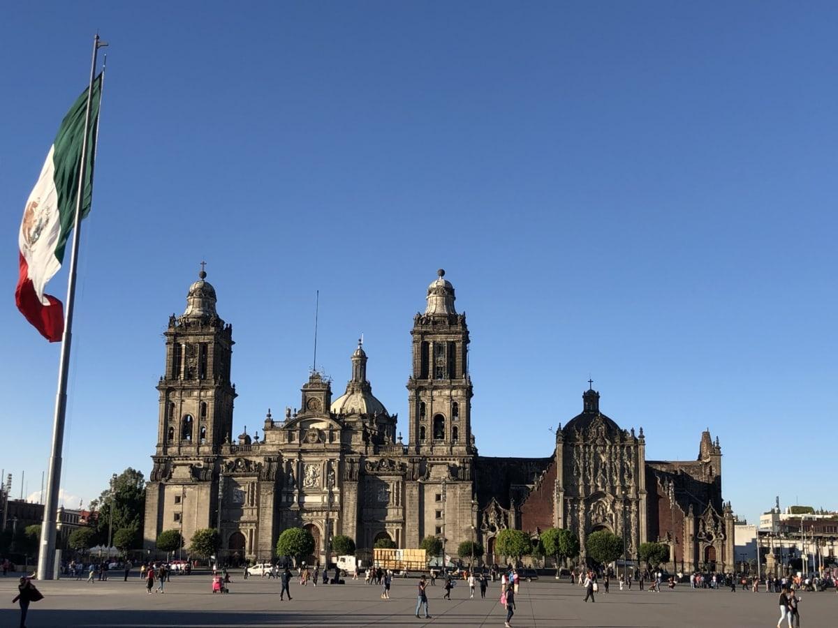 대성당, 다운 타운, 플래그, 멕시코, 관광 명소, 아키텍처, 종교, 빌딩, 교회, 도시