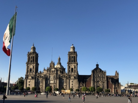 cathedral, downtown, flag, mexico, tourist attraction, architecture, religion, building, church, city