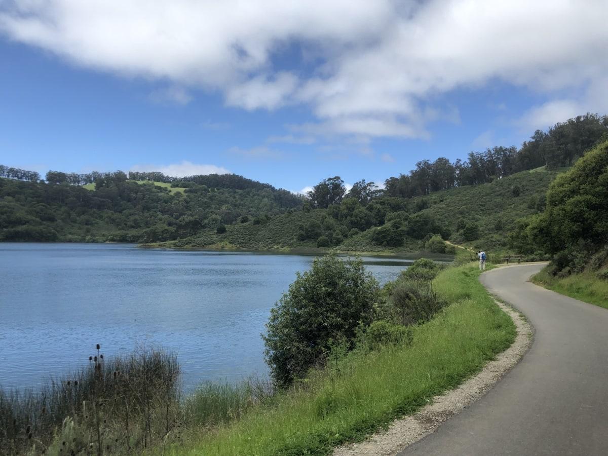 asfalt, idilično, cesta, obala, krajolik, jezero pejzaž, rijeka, jezero, voda, priroda