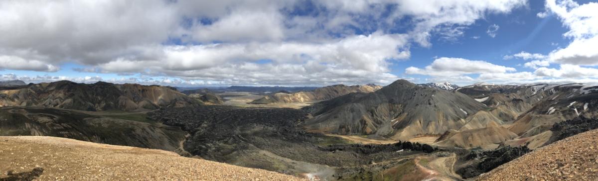 blue sky, clouds, mountain peak, panorama, high land, landscape, range, mountains, mountain, nature