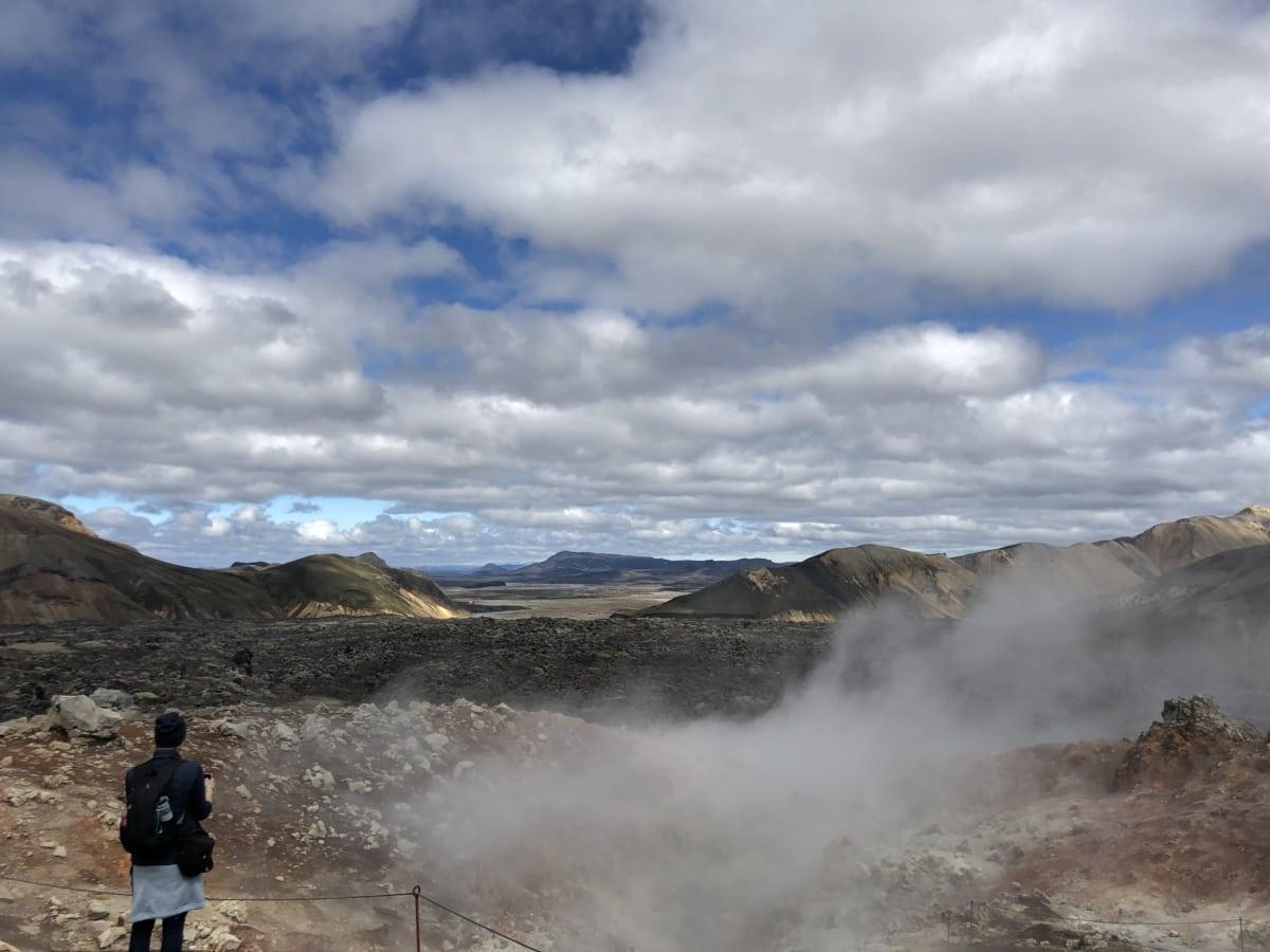 person, scientific research, smoke, volcanic crater, volcanic eruption, volcano, cloud, adventure, beach, clouds