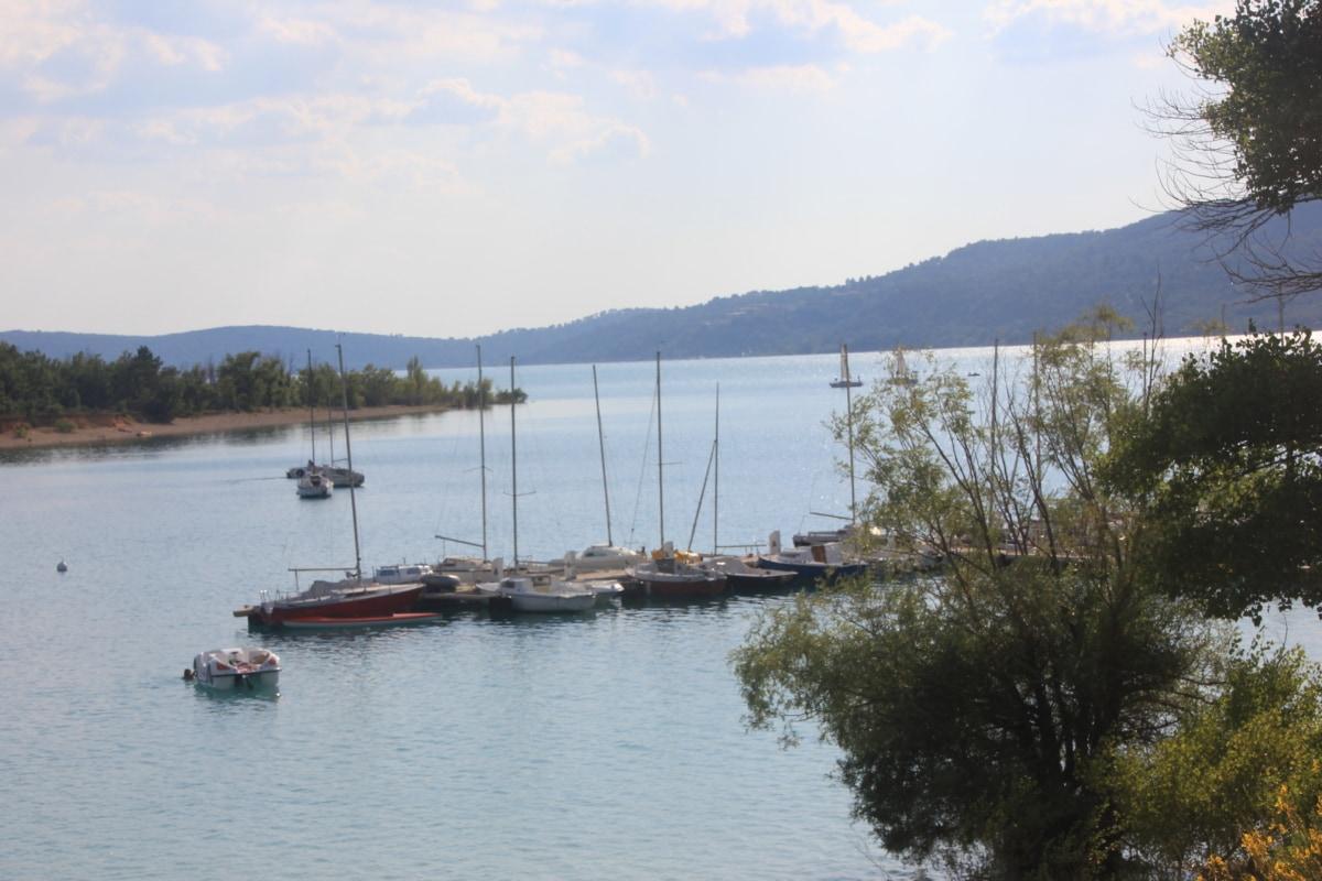 båt, vackert väder, sjöar, marina, havet, vatten, sjön, floden, träd, landskap