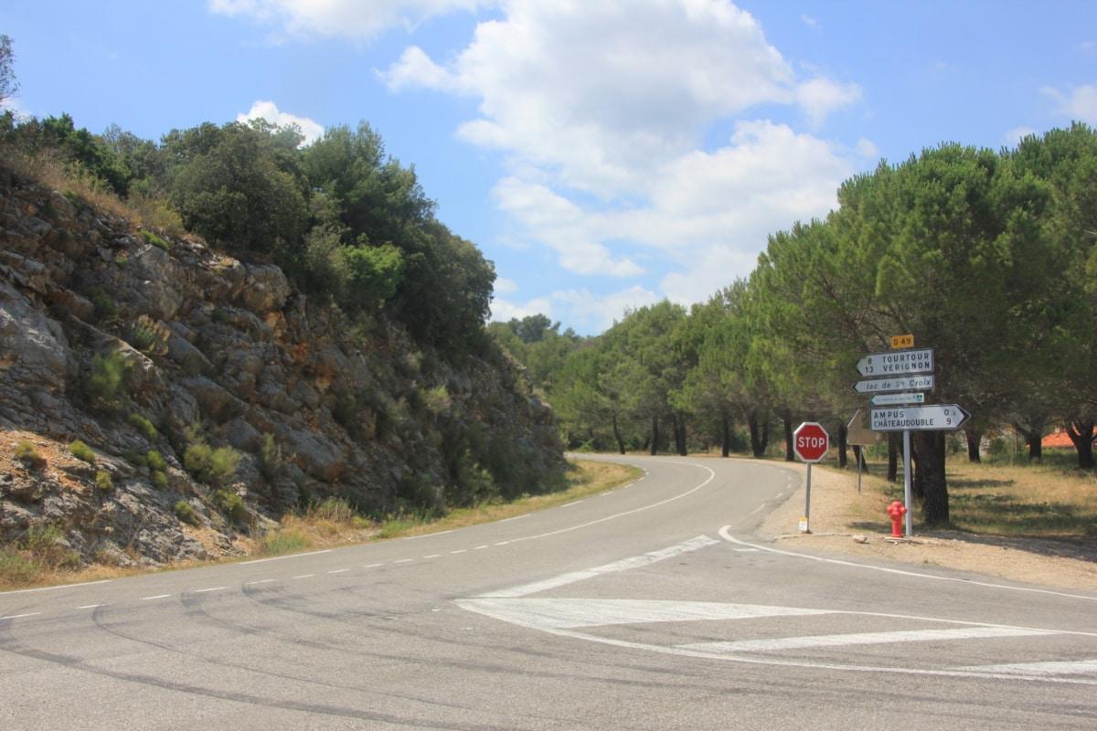 znak, zaustaviti, kontrola prometa, krajolik, cesta, autocesta, drvo, priroda, ljeto, asfalt