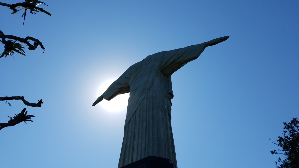 marble, rio de janeiro, sculpture, sunrays, statue, art, silhouette, blue sky, architecture, outdoors