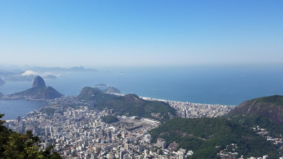 antenne, bukt, bybildet, fjellsiden, hav, Rio de janeiro, reise, utvalg, fjell, landskapet
