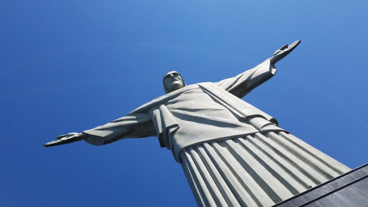 Χειροποίητο, ορόσημο, μάρμαρο, Ρίο ντε Τζανέιρο, γλυπτική, άγαλμα, σε εξωτερικούς χώρους, μπλε του ουρανού, υψηλή, αρχιτεκτονική