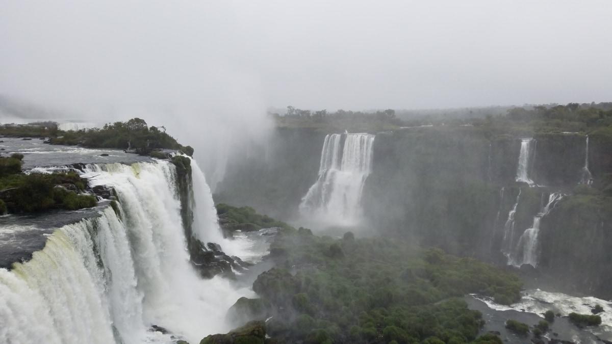 veľký, hmla, vlhkosť, vodopád, rieka, voda, Príroda, vonku, príroda, hmla