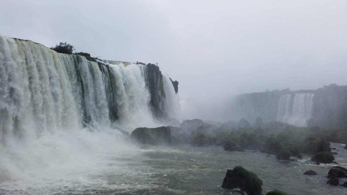 cascata, acqua, fiume, orizzontale, nebbia, nebbia, roccia, natura, cascata, tempo libero