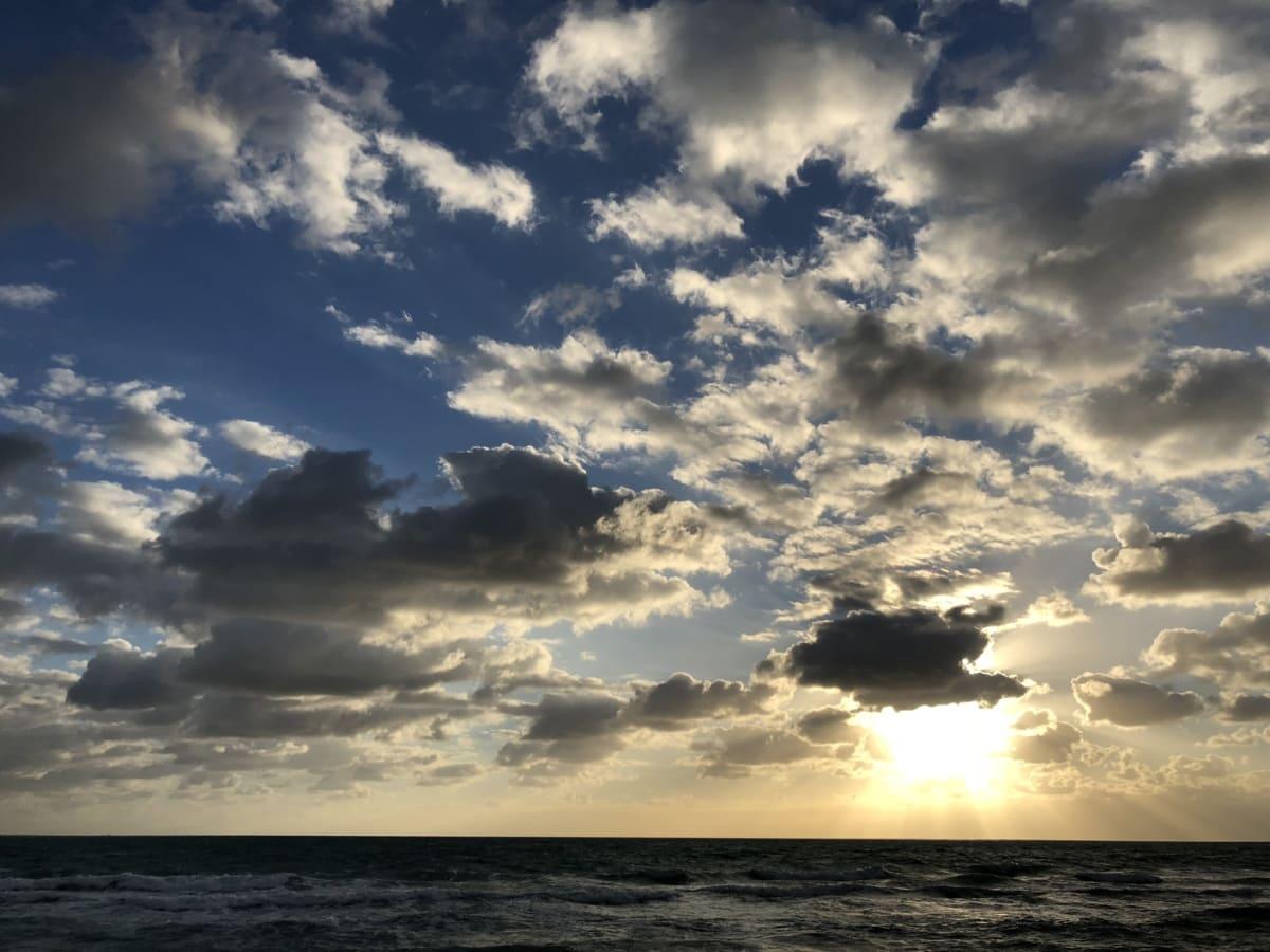 bewolkt, hemel, oceaan, panorama, zonsondergang, water, wolken, zon, sfeer, natuur