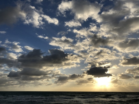 cloudy, Heaven, ocean, panorama, sunset, water, clouds, sun, atmosphere, nature
