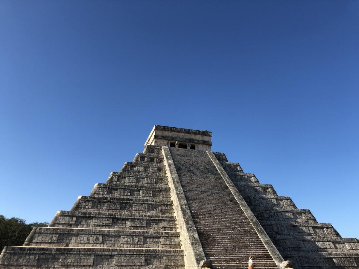 Америка, красиво изображение, забележителност, перспектива, пирамида, туристическа атракция, древен, архитектура, стъпка, храма