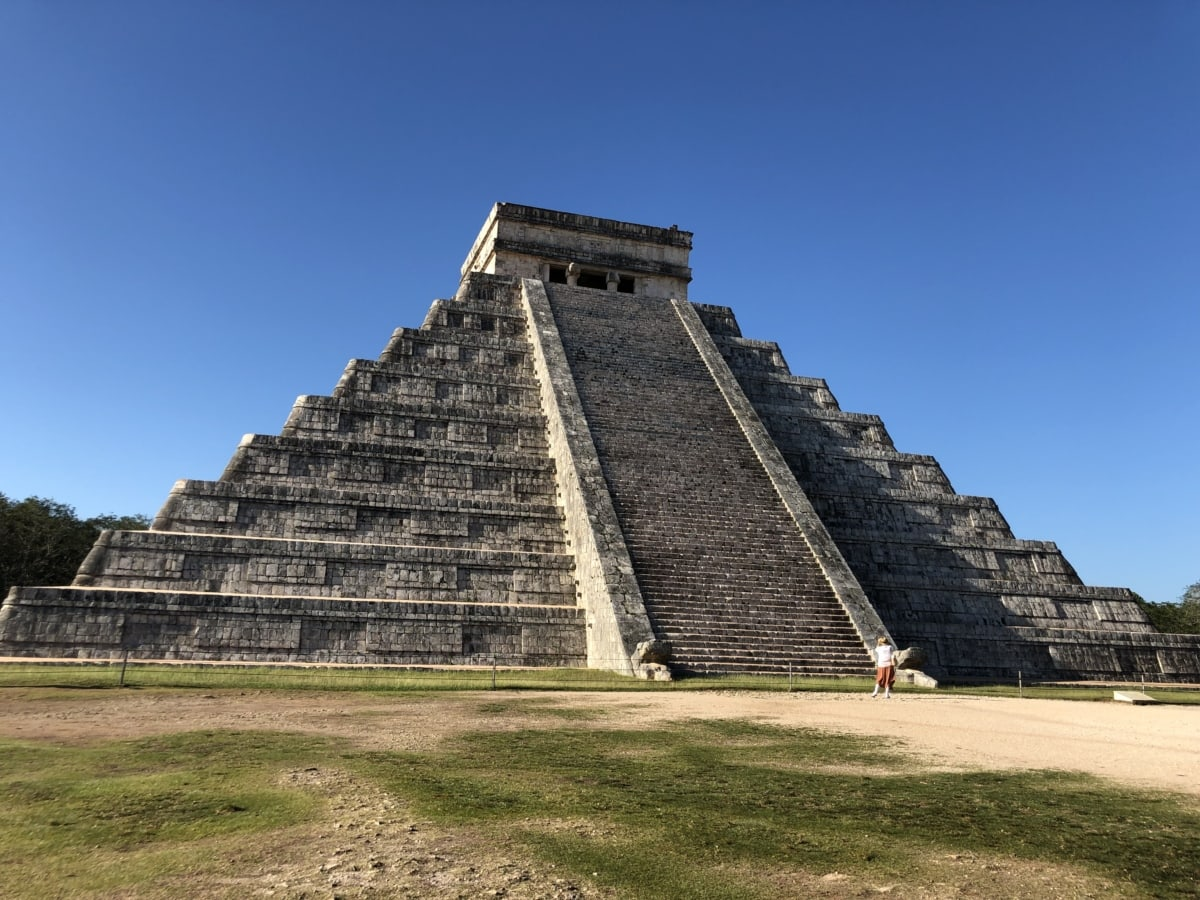 Amerika, groß, Erbe, Pyramide, Tempel, Wand, Treppen, Antike, Architektur, Schritt
