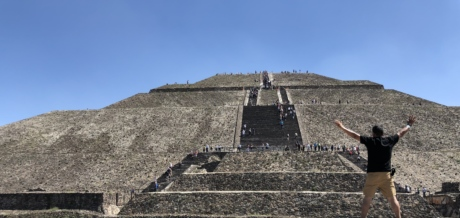 crowd, man, pyramid, stairway, tourist attraction, architecture, covering, roof, ancient, military