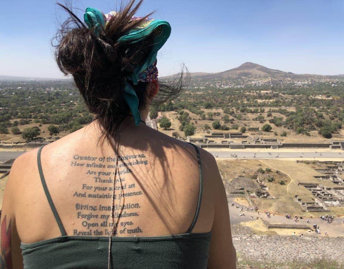 frisyre, poesi, stående, huden, tatovering, kvinne, vind, jente, solen, ørkenen