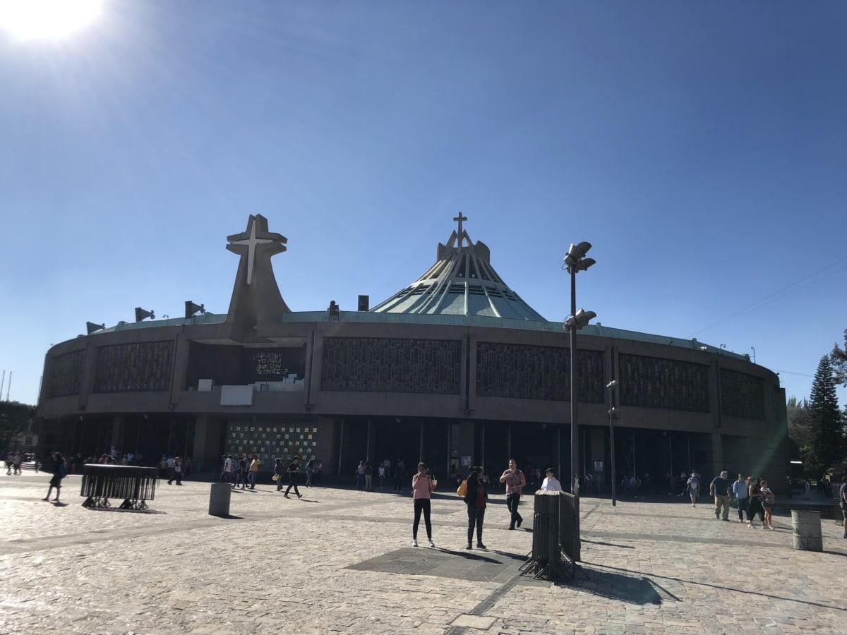 kostel, centrum města, moderní, Sluneční svit, budova, architektura, lidé, muzeum, město, skupina