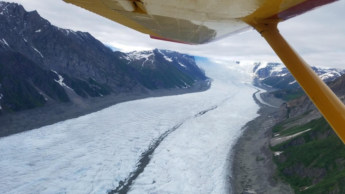 aeroplano, gletsjer, met uitzicht op, panorama, vleugel, ijs, helling, landschap, Winter, berg